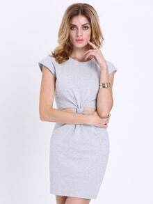 Grey Cap Sleeve Cut Out Dress