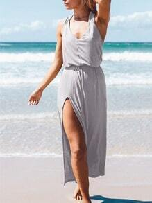 Grey Beachdresses Sleeveless Resort Backless Split Dress