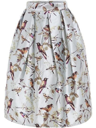 Bird Print Flare Skirt