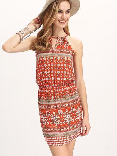 Red Spaghetti Strap Vintage Floral Bodycon Dress