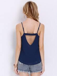 Navy Spaghetti Strap Backless Cami Top