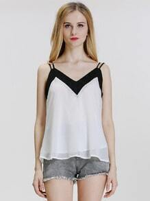 Colour-block Spaghetti Strap Chiffon Cami Top