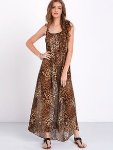 Leopard Spaghetti Strap Backless Maxi Dress