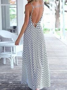 White Black Spaghetti Strap Backless Split Striped Maxi Dress