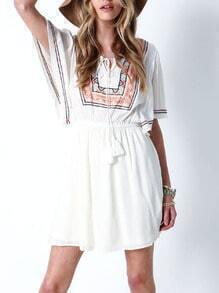 White Short Sleeve Tribal Embroidered Dress