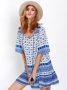 Blue Half Sleeve Tribal Print Dress