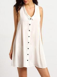 White Sleeveless Lapel Trapeze Dress