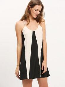 Apricot Black Spaghetti Strap Color Block Dress