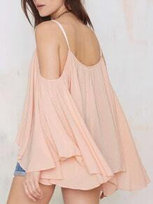 Pink Off The Shoulder Long Sleeve Blouse