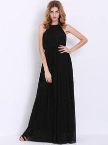 Black Sleeveless Halter Pleated Maxi Dress