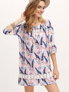 Multicolor Lace Insert Feather Print Dress