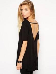 Black Short Sleeve Backless T-shirt