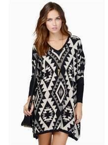 Black Long Sleeve Geometric Sweater Dress