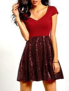Wine Red Cap Sleeve Sequined Pleated Dress