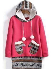 Rose Red Hooded Deer Pockets Sweatshirt