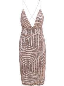 Pink Spaghetti Strap Sequined Bodycon Dress