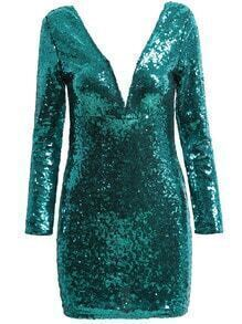 Green Long Sleeve V Neck Sequined Dress