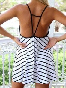 White Spaghetti Strap Backless Striped Dress