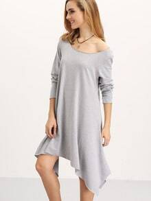 Grey Long Sleeve Asymmetric Unusual Loose Dress