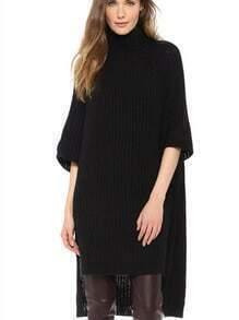 Black Half Sleeve Oversized High Low Sweater