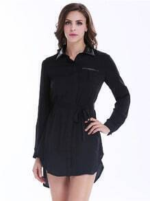 Black Contrast PU Leather Lapel Belt Shirt Dress