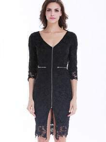 Black Deep V Neck Zipper Embroidered Lace Dress