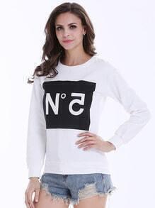 White Long Sleeve Letter Print Loose Sweatshirt