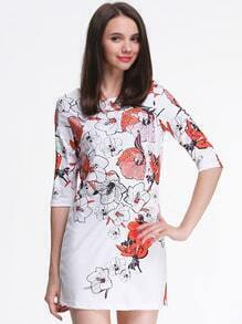 White Half Sleeve Floral Print Dress