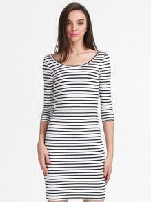White Black Striped Backless Dress