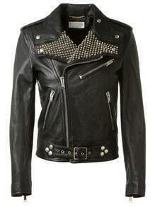 Black Long Sleeve Rivet Zipper Pu Leather Jacket