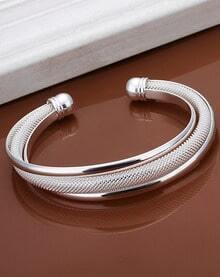 Silver Grid Cuff Bracelet