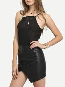 Black Halter With Chiffon Asymmetrical Dress