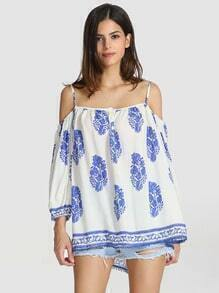 White Spaghetti Strap Off The Shoulder Blouse