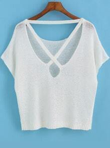 White Short Sleeve Backless Knit Sweater