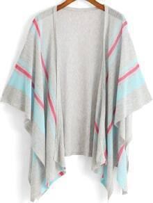 Grey Blue Kimono Sleeve Striped Knit Cardigan