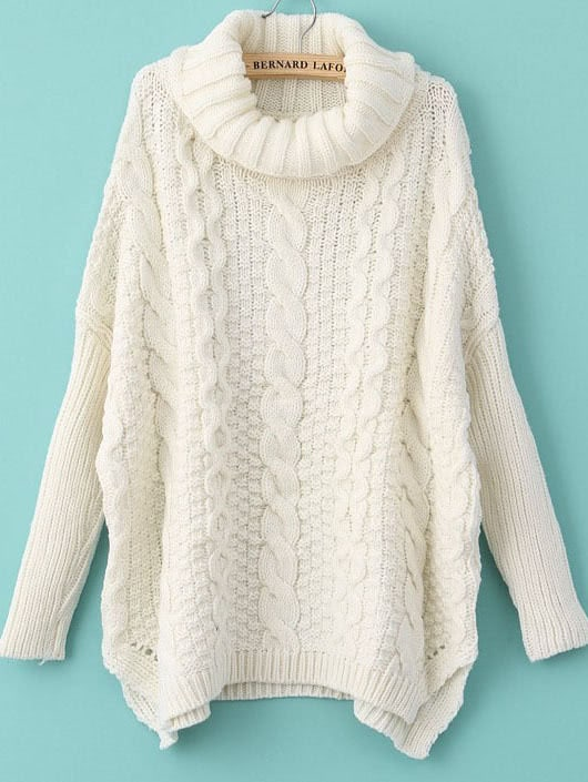Turtleneck Chunky Cable Knit Sweater colorblock cable knit sweater