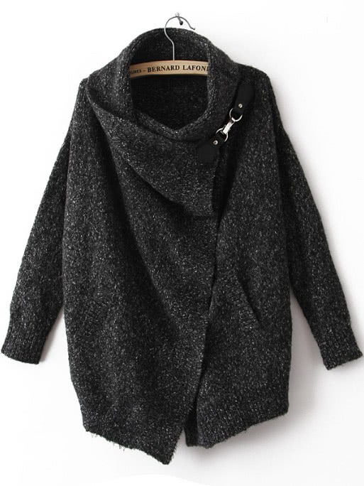 Black Lapel Long Sleeve Ouch Cardigan Sweater