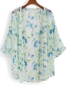 Blue Short Sleeve Morning Glory Chiffon Kimono