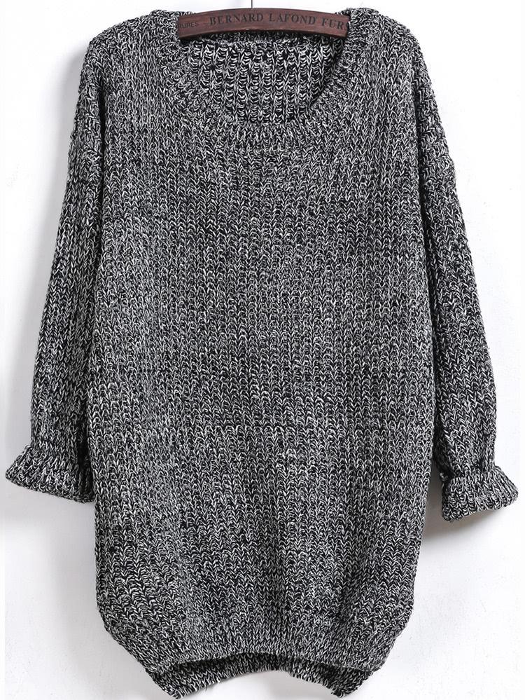 Dipped Hem Long Sleeve Loose Sweater