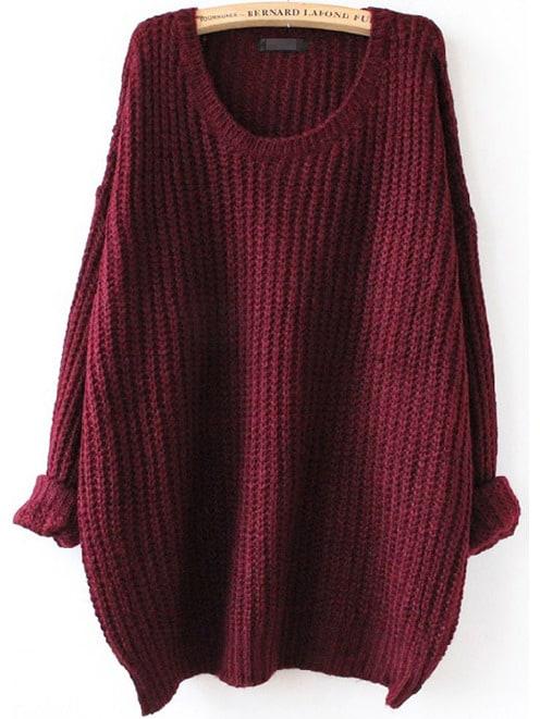 Batwing Drop Shoulder Loose Knit Sweater drop crotch loose two tone pants