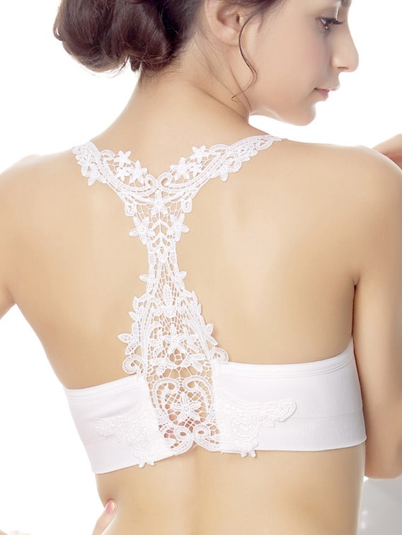 White Spaghetti Strap Hollow Lace Back Lingerie