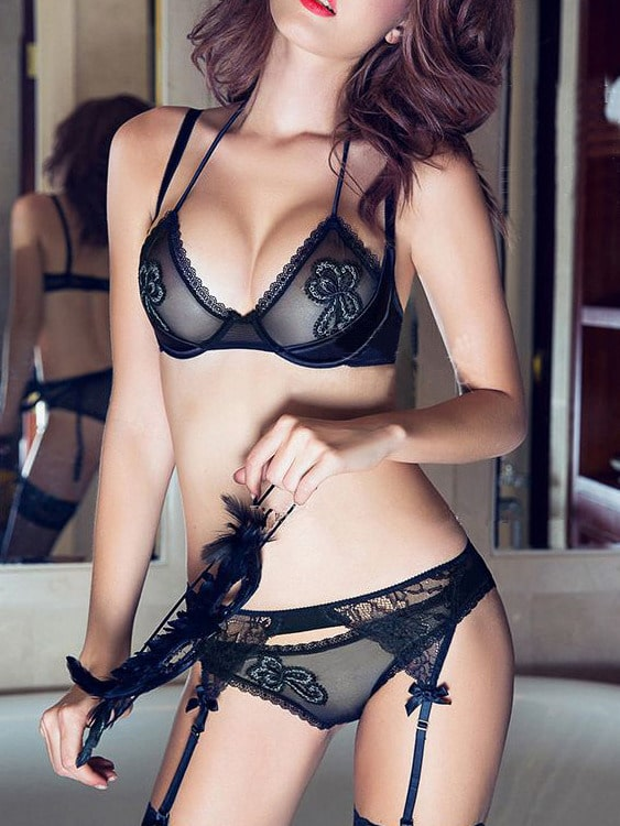 Black Halter Lace Sexy Lingerie Set