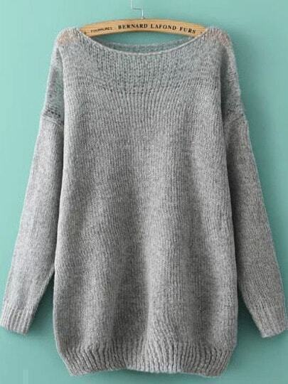Grey Off the Shoulder Mohair Knit Sweater