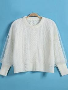White Contrast Gauze Cable Knit Crop Sweater