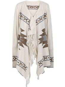 Apricot Long Sleeve Geometric Pattern Tassel Cardigan