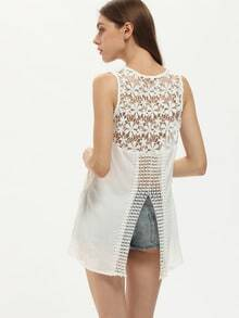 White Sleeveless V Neck With Lace Tank Top