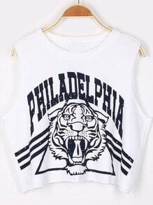 White PHILADELPHIA Tiger Print Crop Tank Top