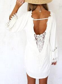 White Long Sleeve Lace Backless Loose Blouse