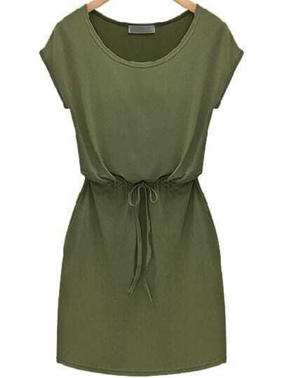 Green Workwear Short Sleeve Careers Drawstring Slim Dress