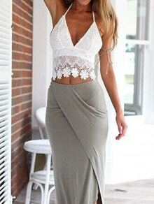 White Halter Floral Crochet Lace Cami Top